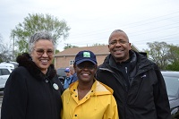 Cook County President Toni Preckwinkle with Sheila Atkins and Herman Brewer, Bureau Chief, Burau of Economic Development on National Rebuilding Day