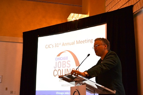 President Preckwinkle addresses the Chicago Jobs Council