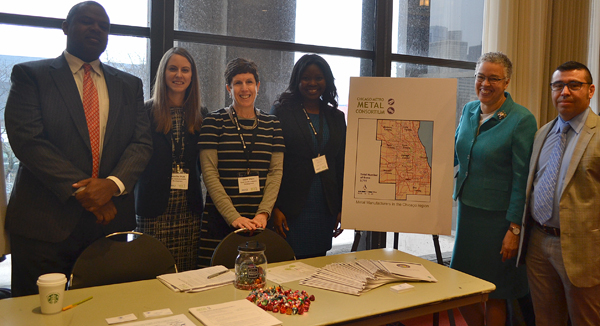 Our team who spearhead CMMC for Cook County meet up with President Preckwinkle :  (from left to   right): Courtney Pogue, Deputy Director, Jennifer Ptak, Irene Sherr, Meisha Holmes, President   Preckwinkle and Mike Jasso, Director.