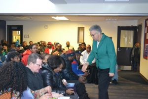 President Preckwinkle greets visitors at the January 27th Workforce Event.