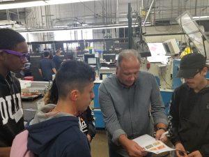 Schurz High school students visiting the manufacturer SG 360.
